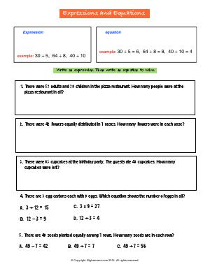 Preview image for worksheet with title Expressions and Equations