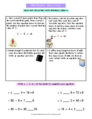 Preview image for worksheet with title Problem Solving