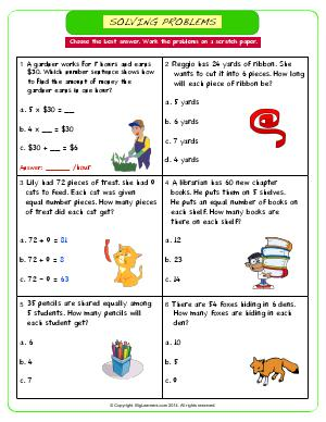 Preview image for worksheet with title Solving Problems