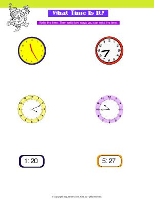 Preview image for worksheet with title What Time Is It?