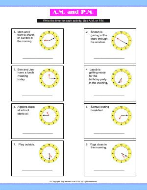 Preview image for worksheet with title A.M. or P.M.
