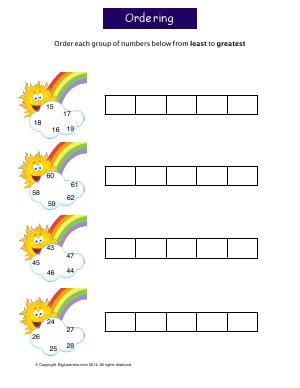 Preview image for worksheet with title Ordering Numbers