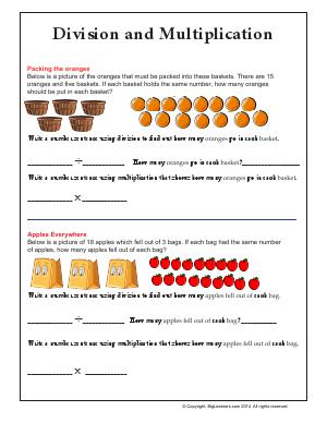 Preview image for worksheet with title Division and Multiplication