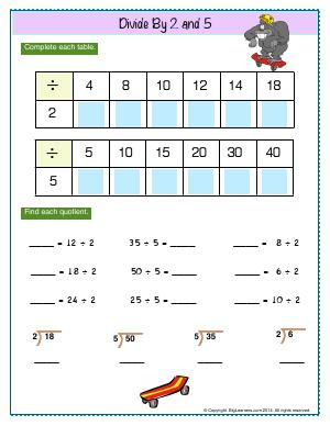 Preview image for worksheet with title Divide by 2 and 5