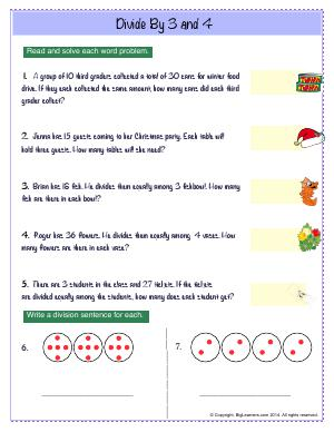 Preview image for worksheet with title Divide By 3 and 4