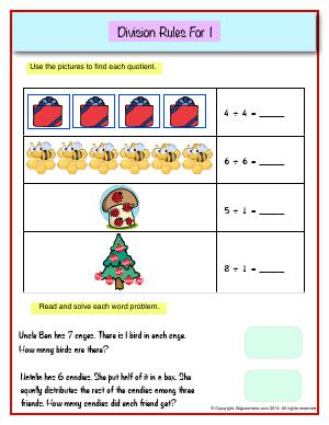 Preview image for worksheet with title Division Rules For 1