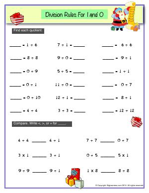 Preview image for worksheet with title Division Rules For 1 and 0