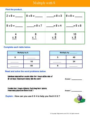 Preview image for worksheet with title Multiply With 8