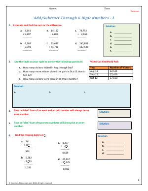 Preview image for worksheet with title Add/Subtract Through 6 Digit Numbers -1