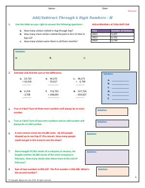 Preview image for worksheet with title Add/Subtract Through 6 Digit Numbers - II