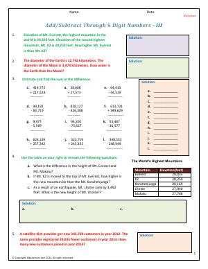 Preview image for worksheet with title Add/Subtract Through 6 Digit Numbers - III