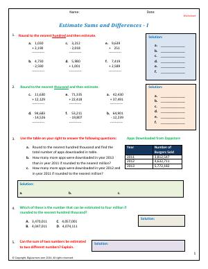Preview image for worksheet with title Estimate Sums and Differences - I