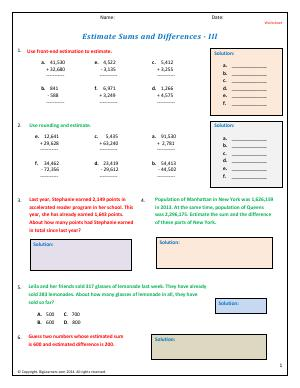 Preview image for worksheet with title Estimate Sums and Differences - III