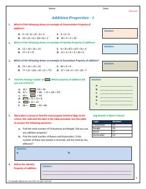 Preview image for worksheet with title Addition Properties - I