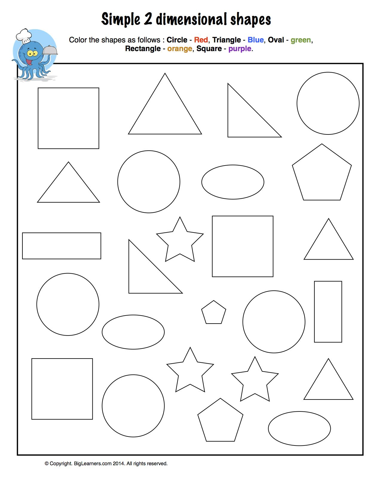Preview image for worksheet with title Simple 2- Dimensional Shapes