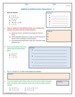 Preview image for worksheet with title Addition/Subtraction Equations - I