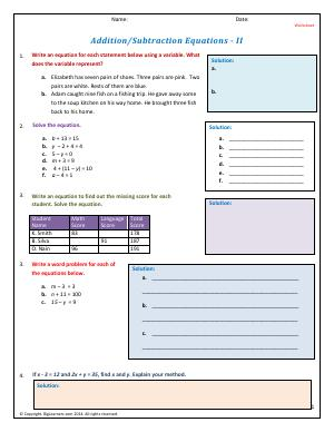 Preview image for worksheet with title Addition/Subtraction Equations - II