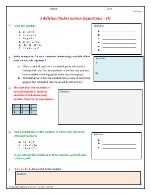 Preview image for worksheet with title Addition/Subtraction Equations - III