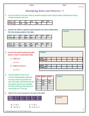 Preview image for worksheet with title Identifying Rules and Patterns - I