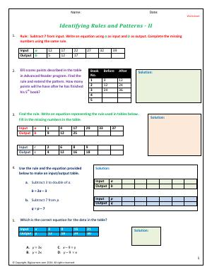 Preview image for worksheet with title Identifying Rules and Patterns - II