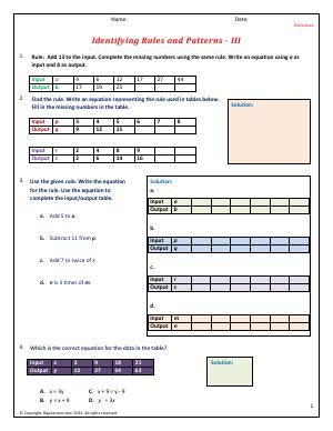Preview image for worksheet with title Identifying Rules and Patterns - III