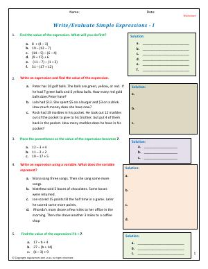 Preview image for worksheet with title Write/Evaluate Simple Expressions - I