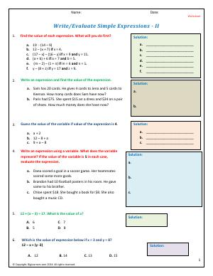Preview image for worksheet with title Write/Evaluate Simple Expressions - II