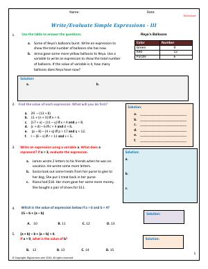 Preview image for worksheet with title Write/Evaluate Simple Expressions - III