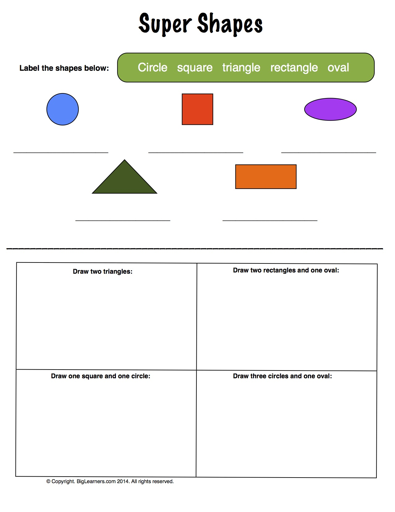 Preview image for worksheet with title Super Shapes