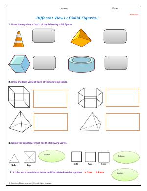 Preview image for worksheet with title Different Views of Solid Figures - I