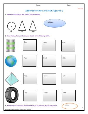 Preview image for worksheet with title Different Views of Solid Figures - II