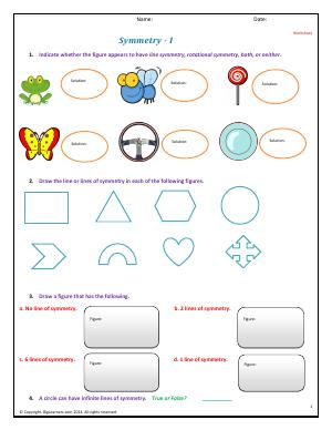 Preview image for worksheet with title Symmetry - I