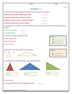 Preview image for worksheet with title Triangles - I