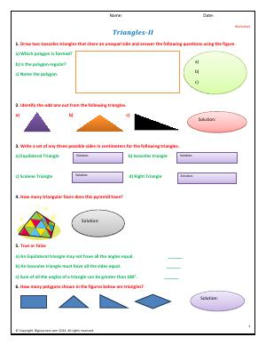 Preview image for worksheet with title Triangles - II