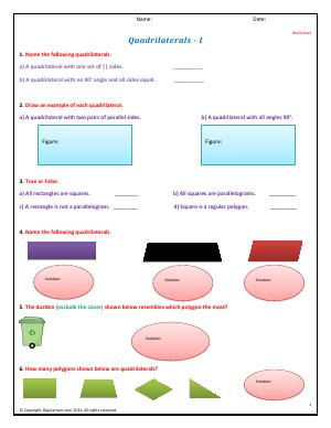 Preview image for worksheet with title Quadrilaterals - I
