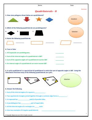 Preview image for worksheet with title Quadrilaterals - II