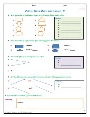 Preview image for worksheet with title Points, Lines, Rays, and Angles - II