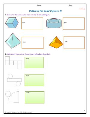 Preview image for worksheet with title Nets For Solid Figures - II