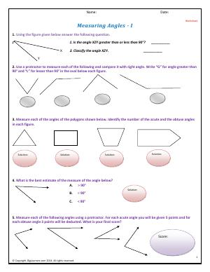 Preview image for worksheet with title Measuring Angles - I
