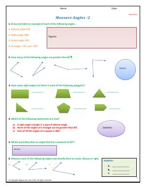 Preview image for worksheet with title Measuring Angles - II