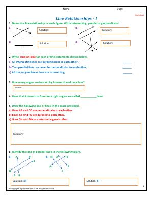 Preview image for worksheet with title Line Relationships - I