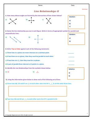 Preview image for worksheet with title Line Relationships - II