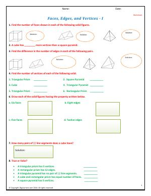 Preview image for worksheet with title Faces, Edges, and Vertices - I