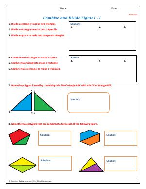 Preview image for worksheet with title Combine and Divide Figures - I