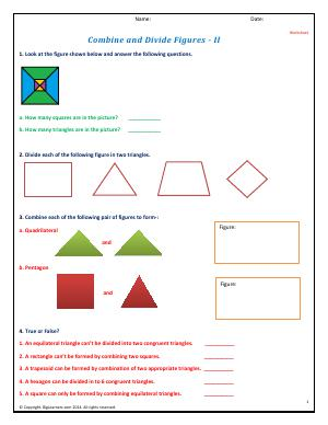Preview image for worksheet with title Combine and Divide Figures - II