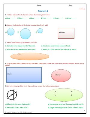 Preview image for worksheet with title Circles - II