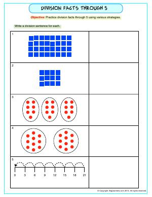 Preview image for worksheet with title Division Facts Through 5