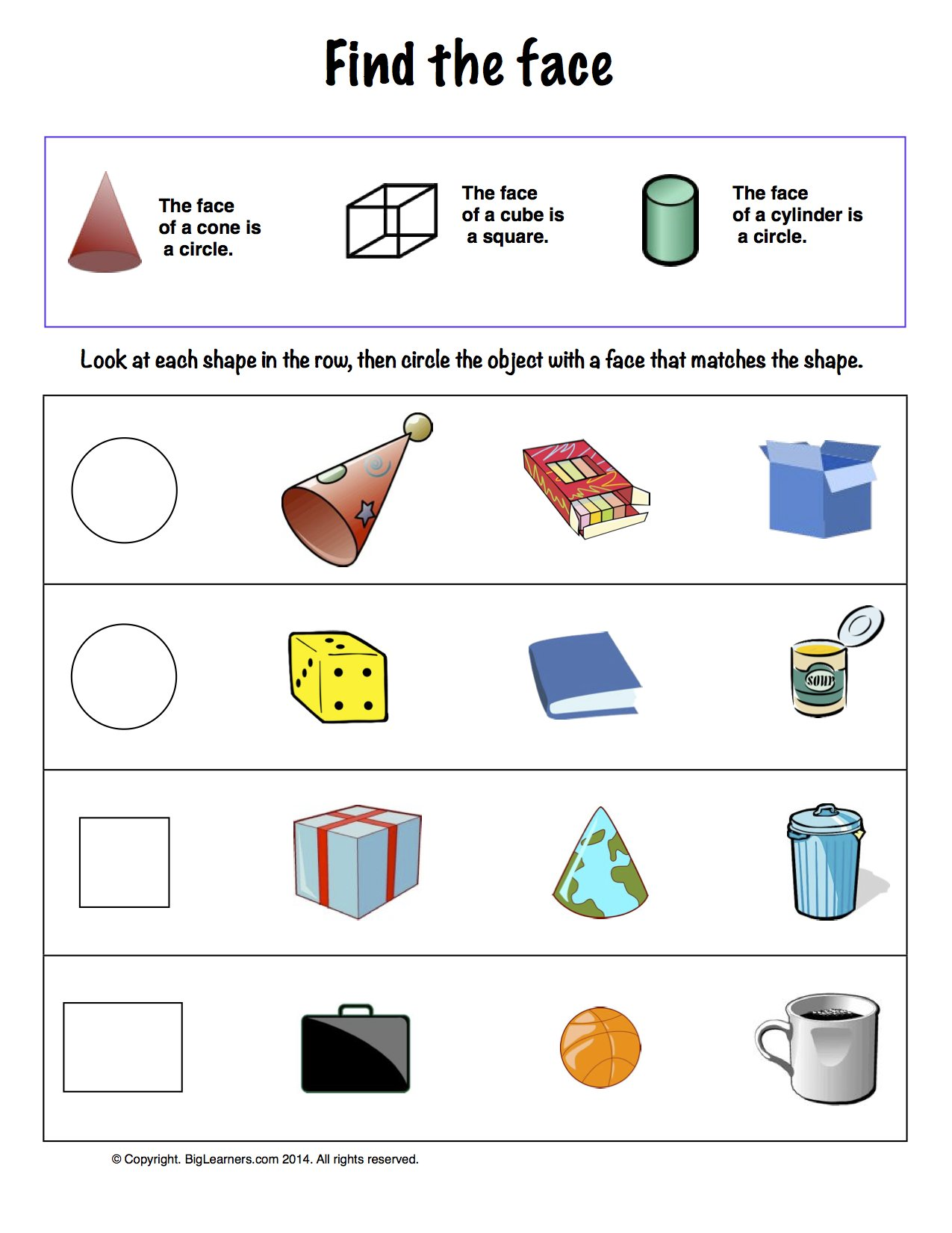Preview image for worksheet with title Find the Face