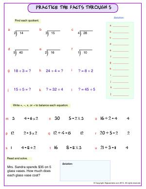 Preview image for worksheet with title Practice the Facts Through 5