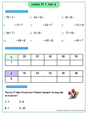 Preview image for worksheet with title Divide By 7 and 8
